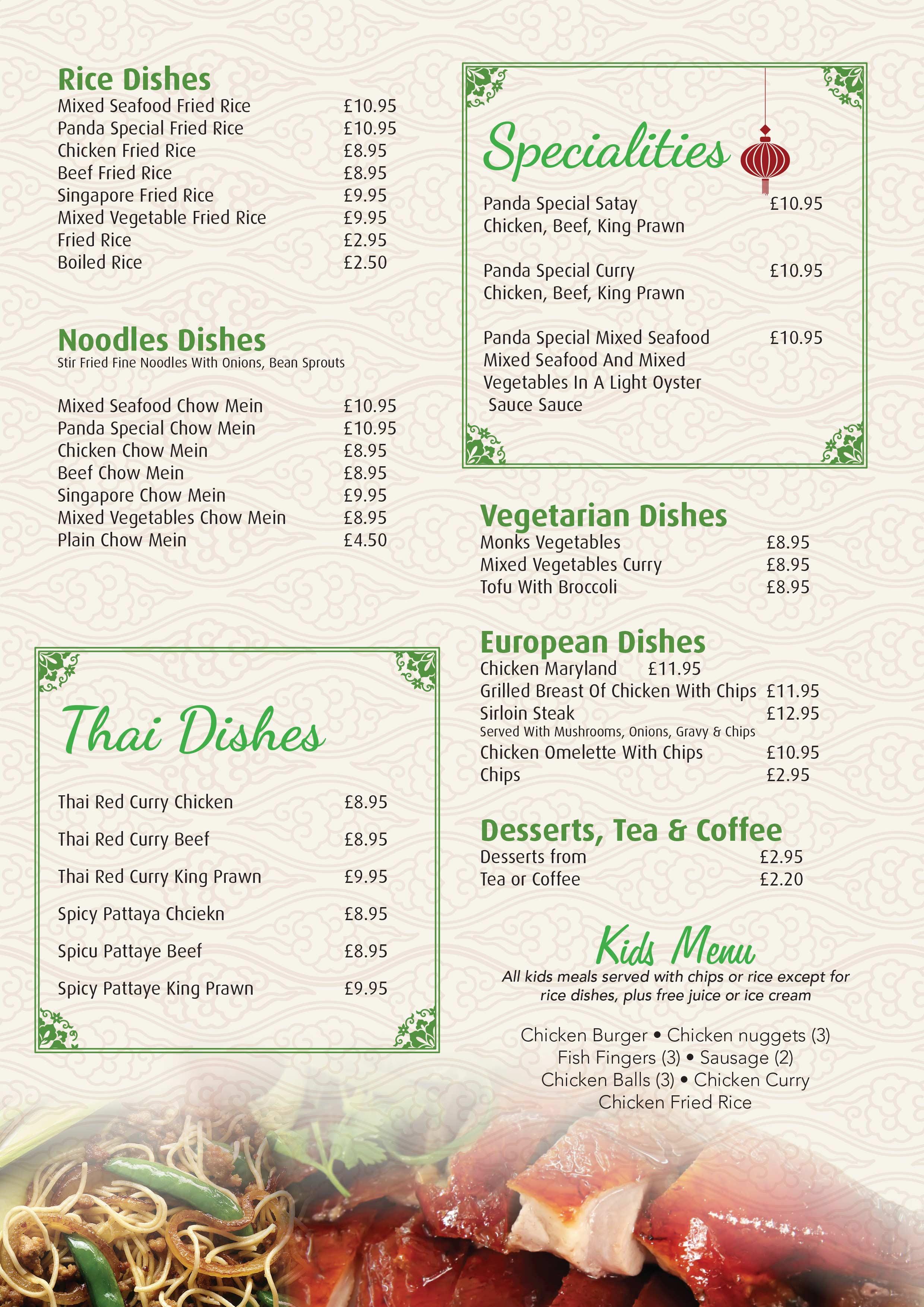 A la carte menu panda cuisine for Cuisine a la carte